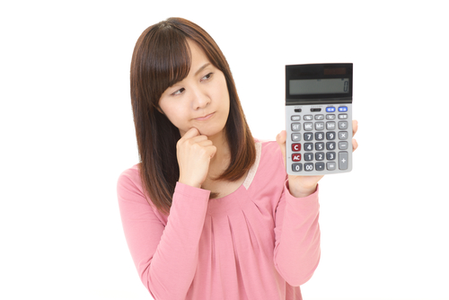 Housewife with a calculator - Maid service rates
