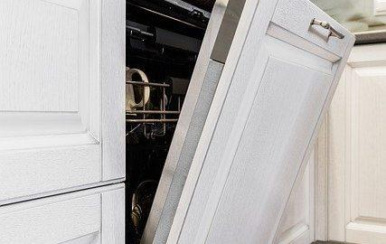 white dishwasher open